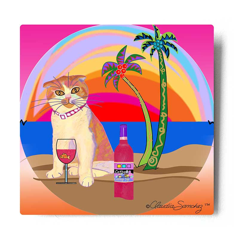 Aloha Lucy Aluminum Cat Art Print by Claudia Sanchez - White Background