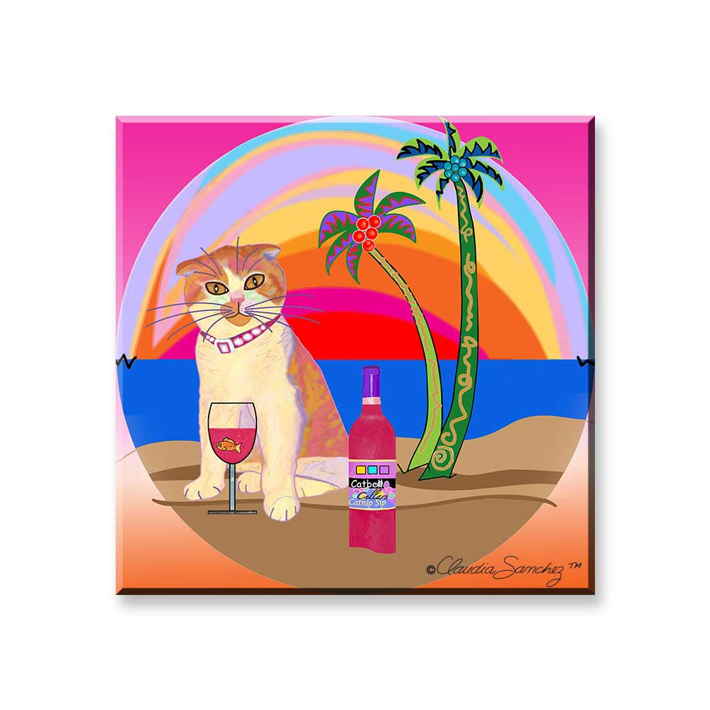 Aloha Lucy - Cat Art Magnet by Claudia Sanchez