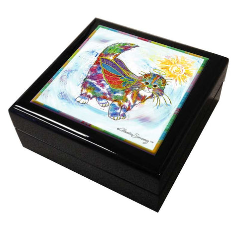 Angel Kitty Cat Art Tile Keepsake Box by Claudia Sanchez