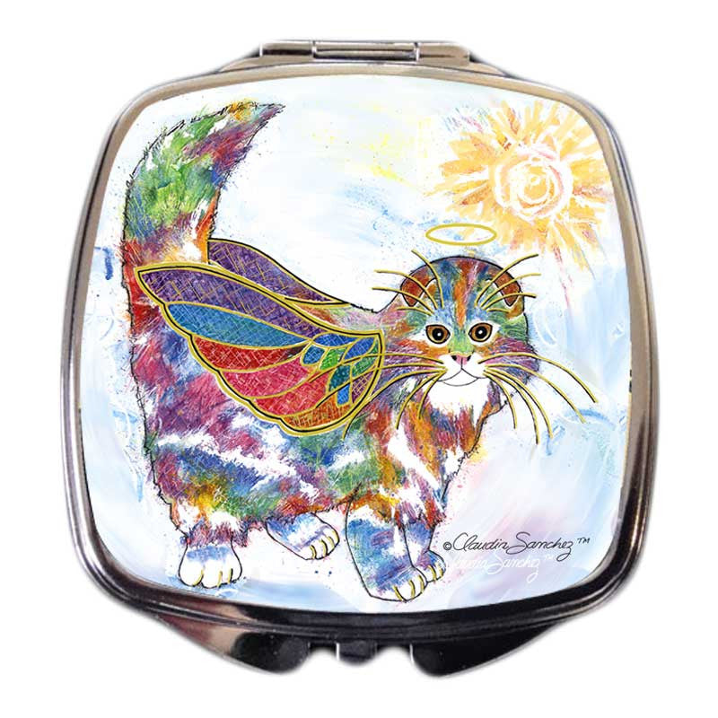 Angel Kitty Cat Art Compact Mirror by Claudia Sanchez