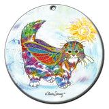 Angel Kitty Ceramic Cat Art Christmas Ornament by Claudia Sanchez, Claudia's Cats Collection