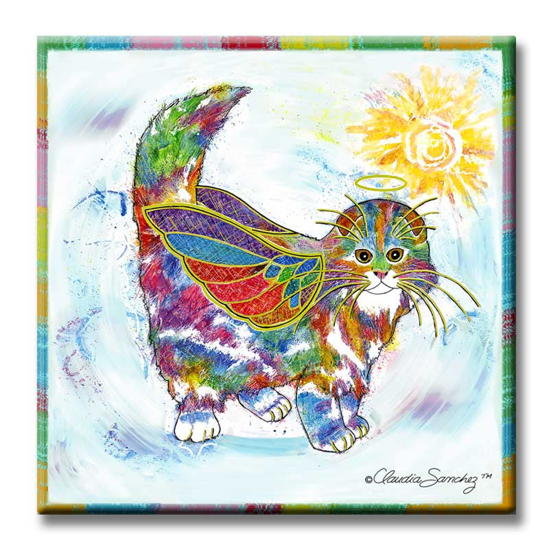 Angel Kitty Cat Art Tile by Claudia Sanchez, Claudia's Cats Collection