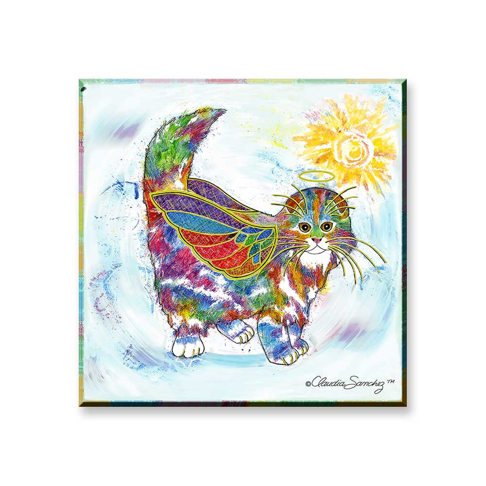 Angel Kitty - Cat Art Magnet by Claudia Sanchez