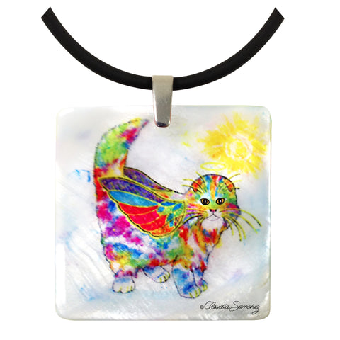 Angel Kitty Mother of Pearl Cat Art Pendant Necklace by Claudia Sanchez, Claudia's Cats Collection