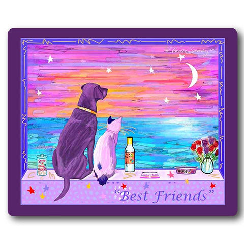 Best Friends Cat & Dog Art Mousepad by Claudia Sanchez