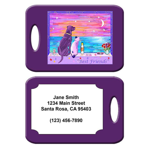 Best Friends - Cat and Dog Art Luggage Tag by Claudia Sanchez