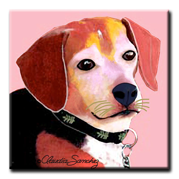 BJ Beagle on Pink - Decorative Ceramic Dog Art Tile