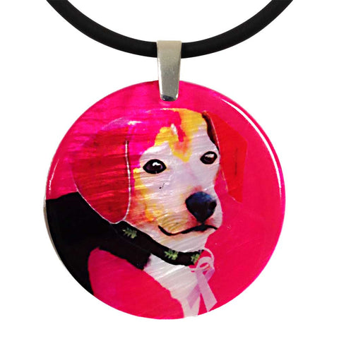 Dog for the Cure -  Mother of Pearl Pendant Necklace by Claudia Sanchez