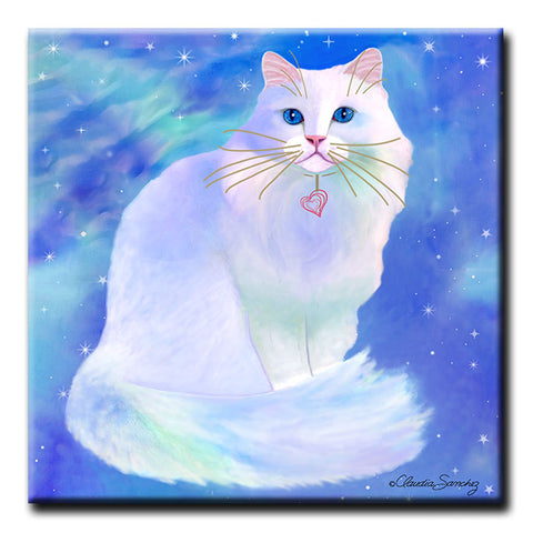 Blue Romeo - Decorative Ceramic Cat Art Tile by Claudia Sanchez
