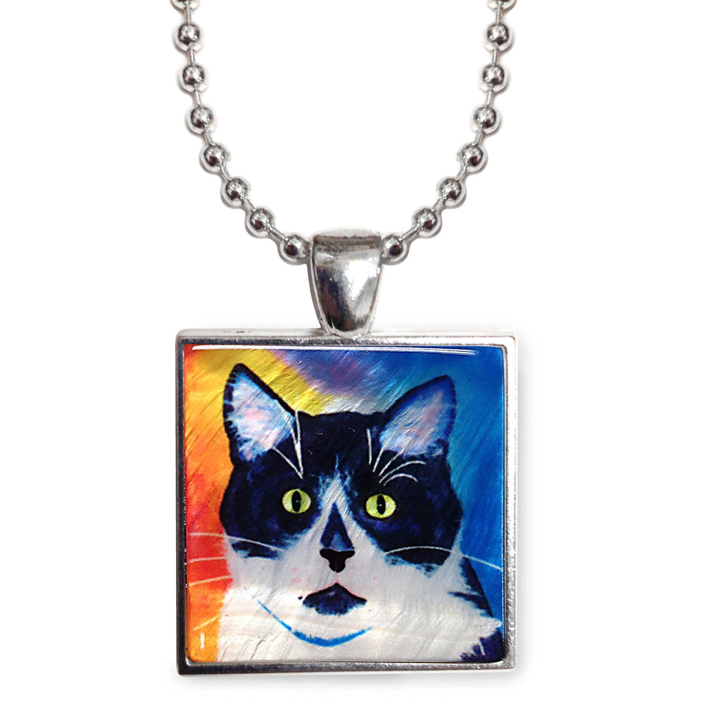 "Bootie Cat Art 1"" Mother of Pearl Pendant Necklace by Claudia Sanchez - Orange and Blue"
