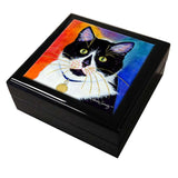 Bootie Cat Art Tile Keepsake Box by Claudia Sanchez