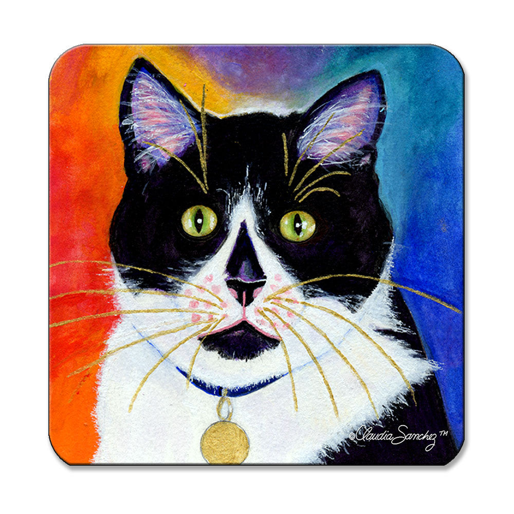 Bootie Cat Art Coaster by Claudia Sanchez
