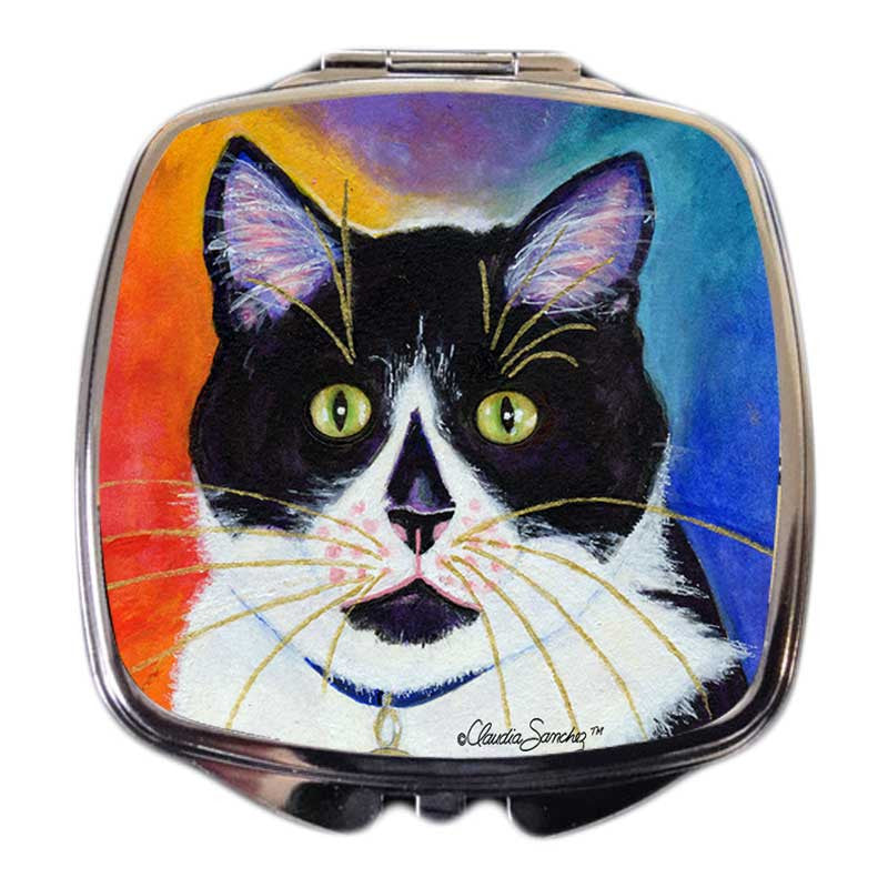 Bootie Cat Art Compact Mirror by Claudia Sanchez