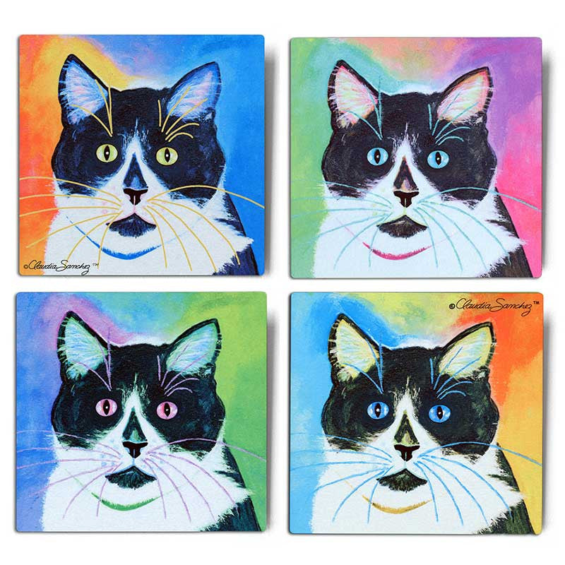 Bootie Moods Aluminum Cat Art Print - 4 piece set by Claudia Sanchez, Claudia's Cats Collection