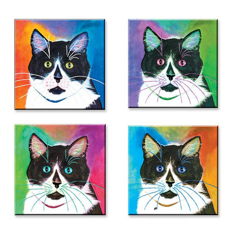 Bootie Four Square - Set of 4 Cat Art Magnets by Claudia Sanchez, Claudia's Cats Collection