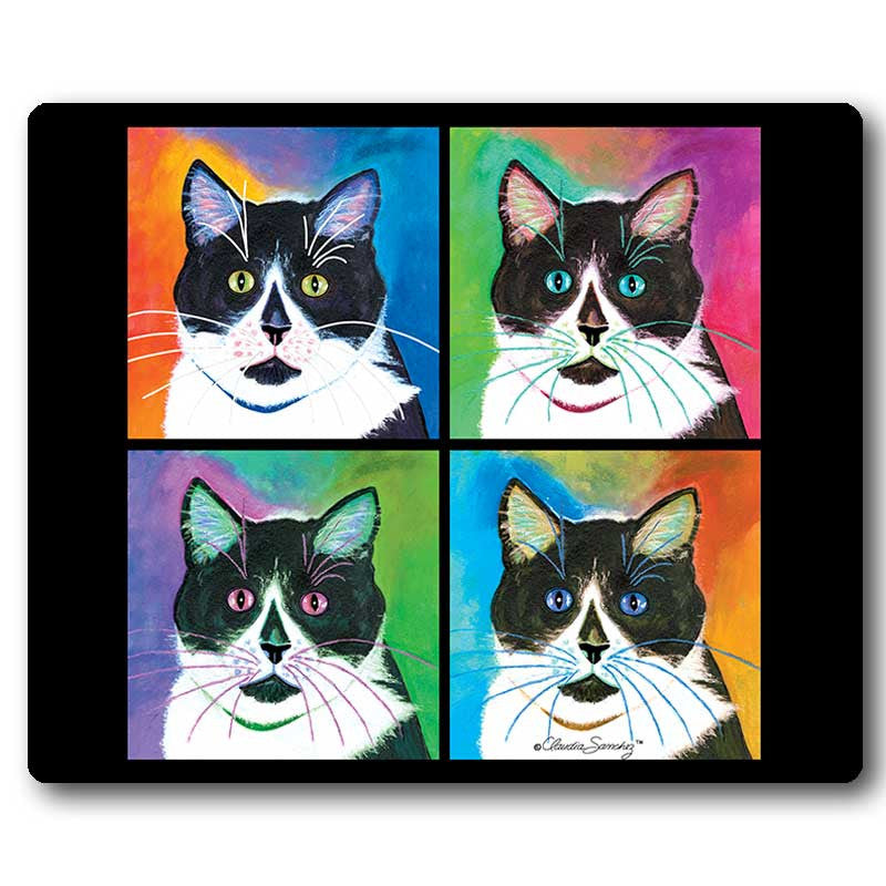 Bootie 4-Square Cat Art Mousepad by Claudia Sanchez, Claudia's Cats Collection