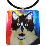 Bootie Mother of Pearl Cat Art Pendant Necklace by Claudia Sanchez, Claudia's Cats Collection