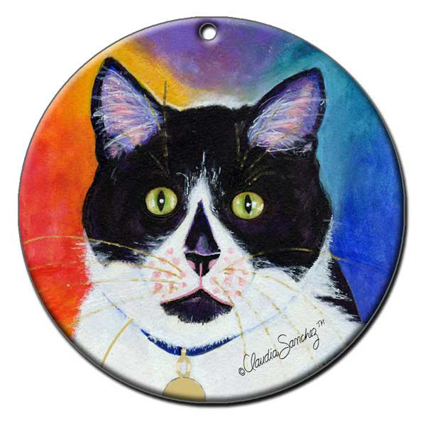Bootie Ceramic Cat Art Christmas Ornament by Claudia Sanchez, Claudia's Cats Collection