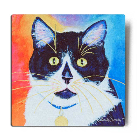 Bootie Aluminum Cat Art Print on silver background - Claudia Sanchez, Claudia's Cats Collection