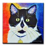 Bootie Black and White Cat Art Tile by Claudia Sanchez, Claudia's Cats Collection