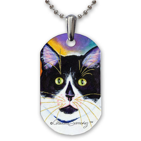 Bootie Cat Art Aluminum Pendant Necklace by Claudia Sanchez - White