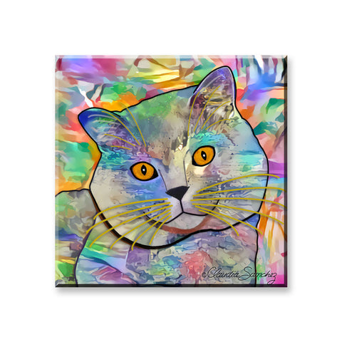 Buddy Guy Jazzy Cat - Cat Art Magnet by Claudia Sanchez