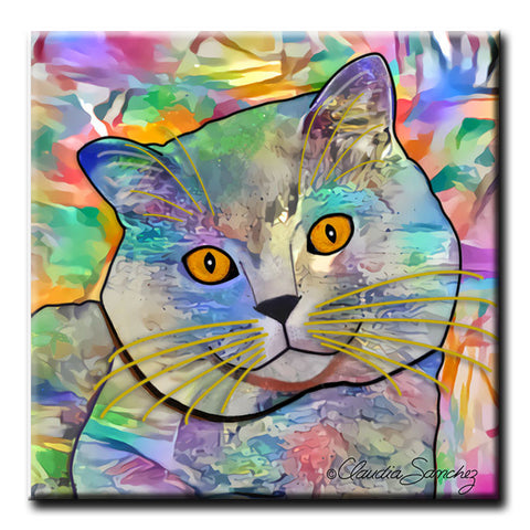 Buddy Guy Jazzy Cat Decorative Ceramic Cat Art Tile