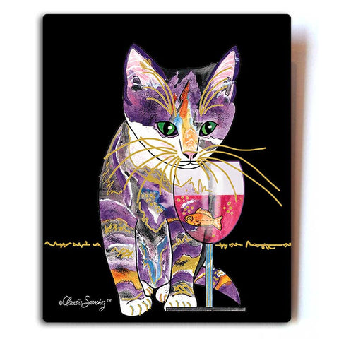 "Catnip Sip (Black) Aluminum Cat Art Print, 8x10"" by Claudia Sanchez, Claudia's Cats Collection"