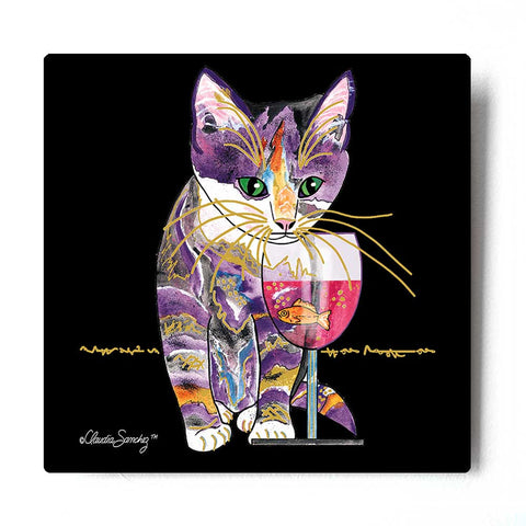 Catnip Sip on Black - Aluminum Cat Art Print by Claudia Sanchez