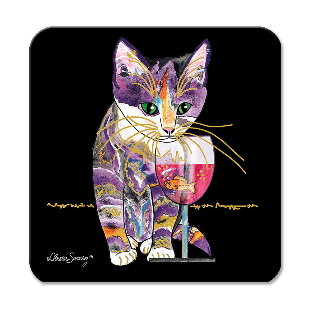 Catnip Sip on Black Cat Art Coaster