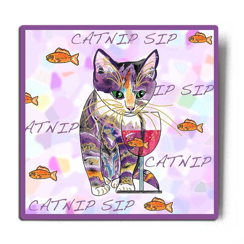 Catnip Sip with Goldfish Cat Art Print by Claudia Sanchez, Claudia's Cats Collection