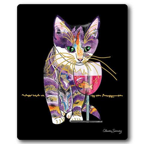 Catnip Sip Cat Art Mousepad by Claudia Sanchez