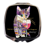Catnip Sip Cat Art Compact Mirror by Claudia Sanchez