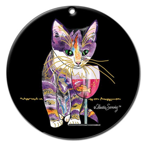 Catnip Sip Ceramic Cat Art Christmas Ornament - Black by Claudia Sanchez, Claudia's Cats Collection