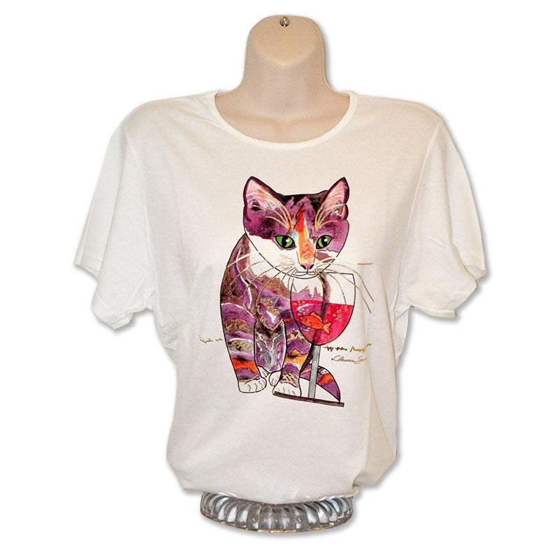Catnip Sip Wine Country Cat Art T-Shirt by Claudia Sanchez