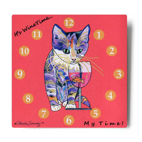 Catnip Sip Wine O'Clock Aluminum Cat Art Print by Claudia Sanchez (Silver background)