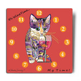 Catnip Sip Wine O'Clock Aluminum Cat Art Print by Claudia Sanchez (White Background)