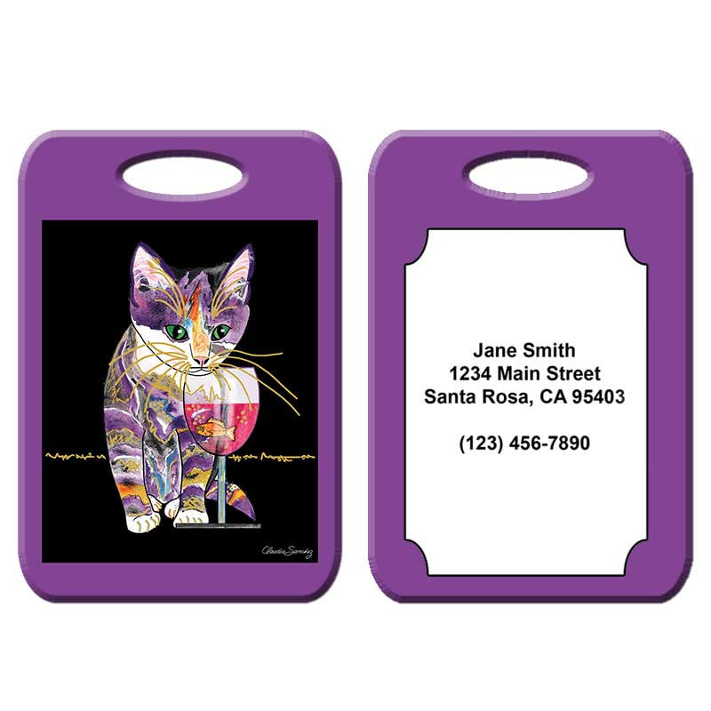 Catnip Sip - Cat Art Luggage Tag by Claudia Sanchez