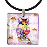 Catnip Sip with Fish Mother of Pearl Pendant Necklace by Claudia Sanchez, Claudia's Cats Collection