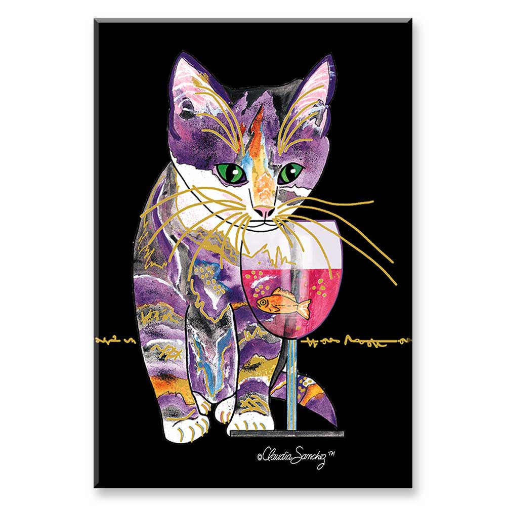 Catnip Sip on Black - Cat Art Magnet by Claudia Sanchez