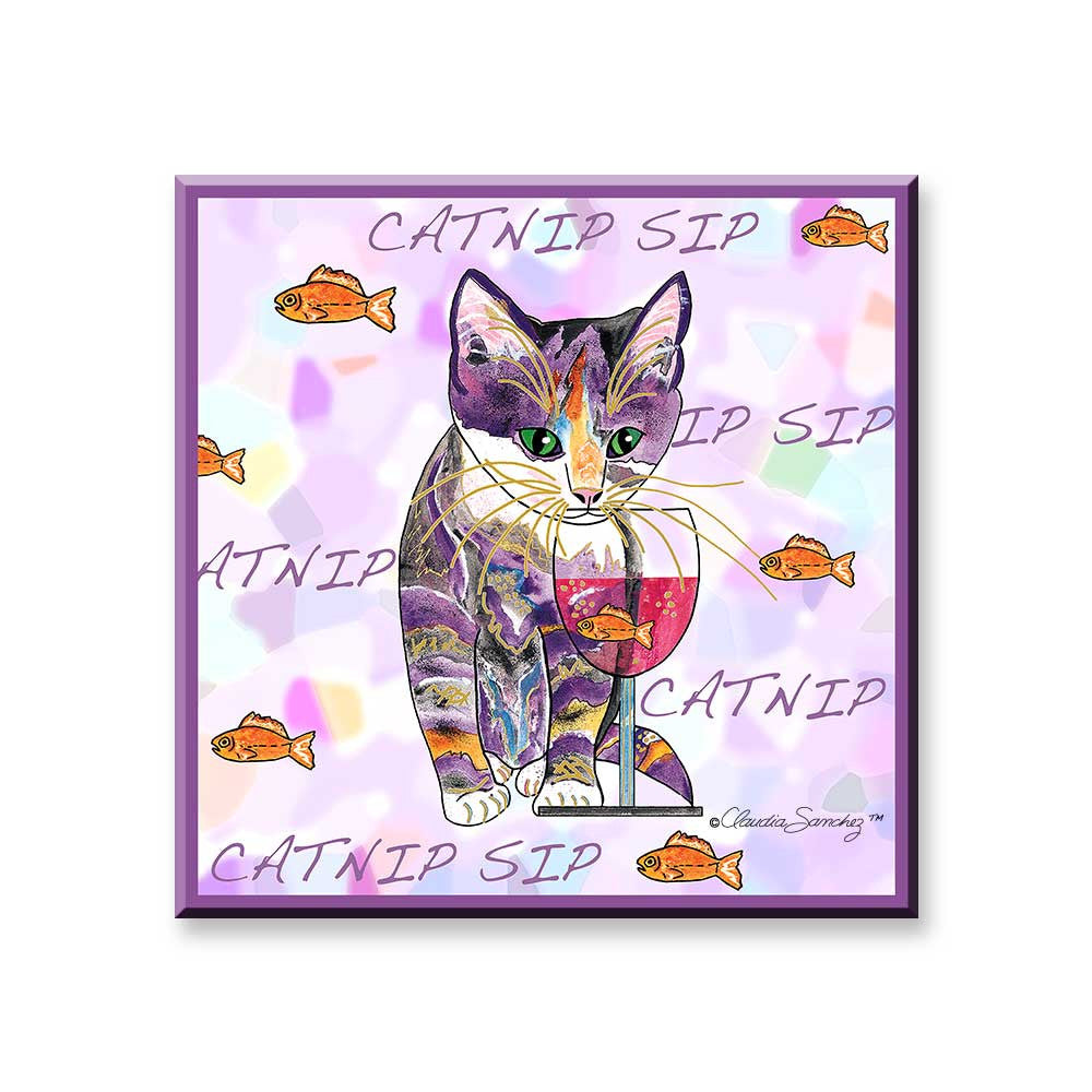Catnip Sip with Goldfish - Cat Art Magnet by Claudia Sanchez