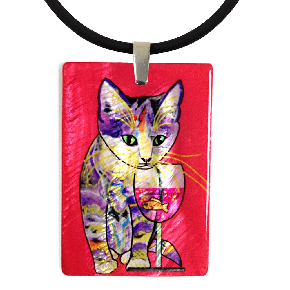 Catnip Sip Mother of Pearl Cat Art Pendant Necklace, Red by Claudia Sanchez, Claudia's Cats Collection