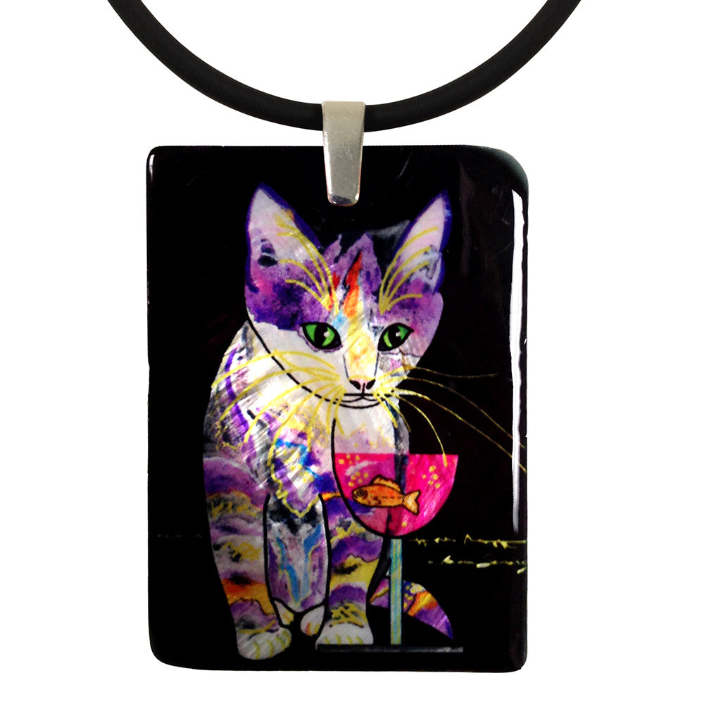 Catnip Sip Mother of Pearl Cat Art Pendant Necklace, Black by Claudia Sanchez, Claudia's Cats Collection