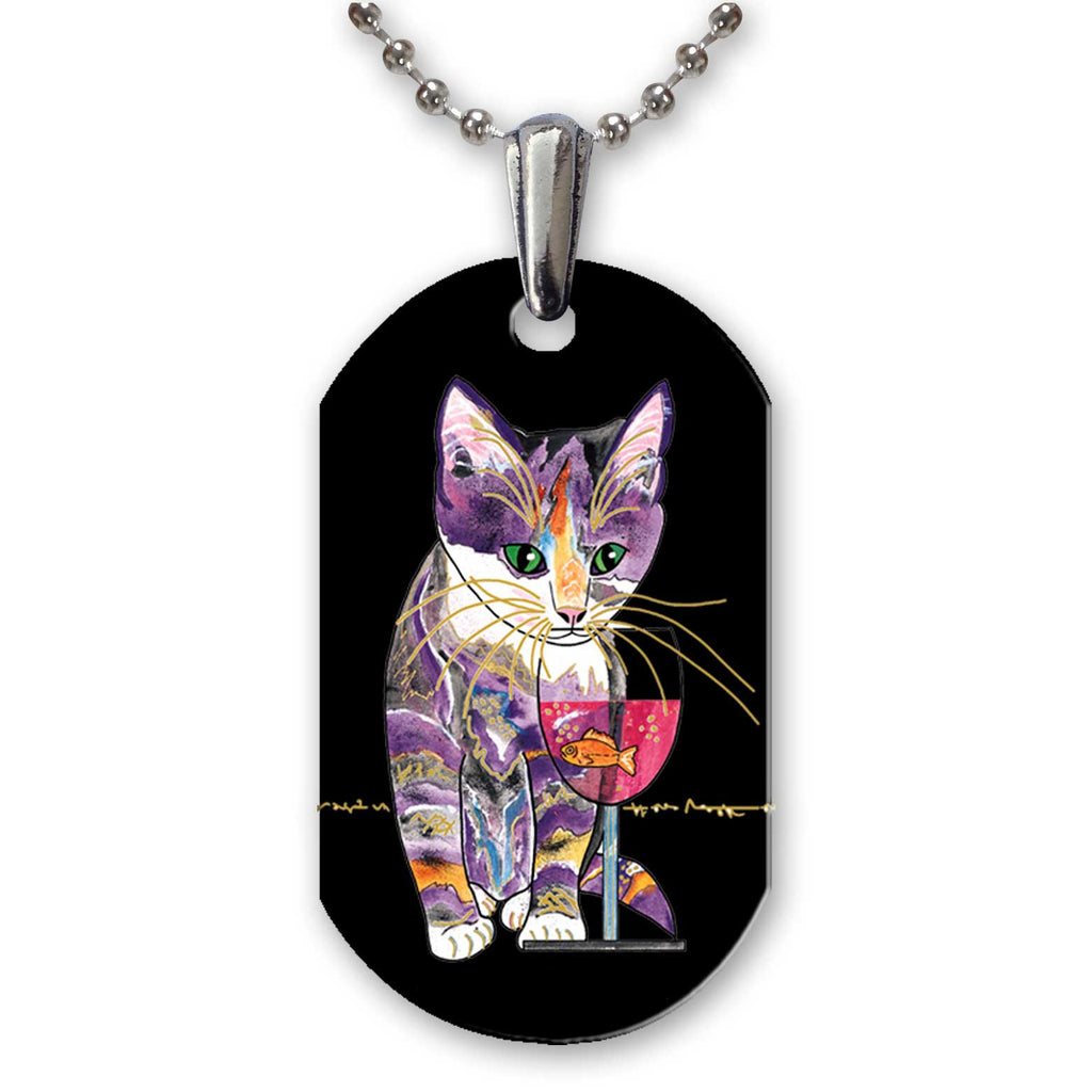 Catnip Sip on Black - Aluminum Cat Art Pendant Necklace by Claudia Sanchez
