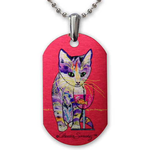Catnip Sip on Red - Aluminum Cat Art Pendant Necklace by Claudia Sanchez, Claudia's Cats Collection