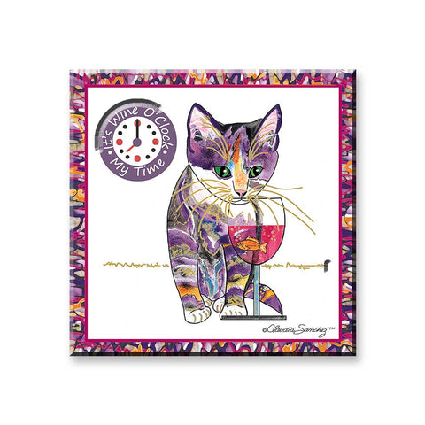Catnip Sip Wine O'Clock - Wine Country Cat Art Magnet by Claudia Sanchez