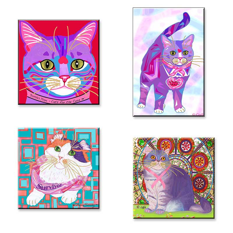 Cats for the Cure - Set of 4 Cat Art Magnets by Claudia Sanchez, Cats for the Cure