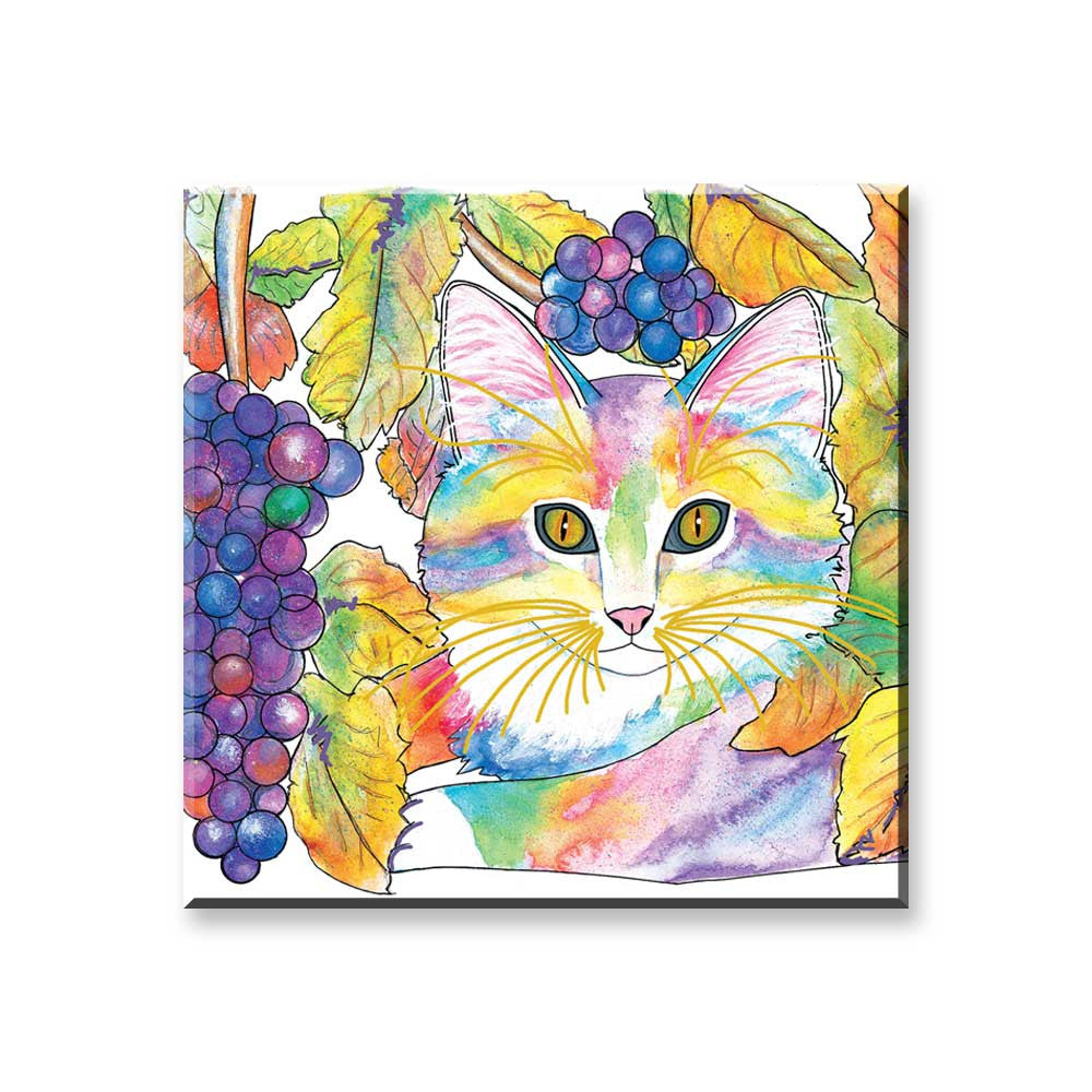 Chianti - Wine Country Cat Art Magnet by Claudia Sanchez