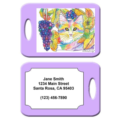 Chianti - Cat Art Luggage Tag by Claudia Sanchez - Lilac