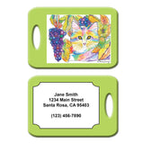 Chianti - Cat Art Luggage Tag by Claudia Sanchez - Green
